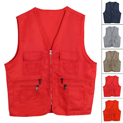 Men Multi Pocket Travel Fishing Photography Waistcoat Safari Cargo Outdoor Vest
