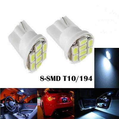 2X Pure White T10 168 194 8-SMD LED For Car License Plate Indicator Light BulbSN