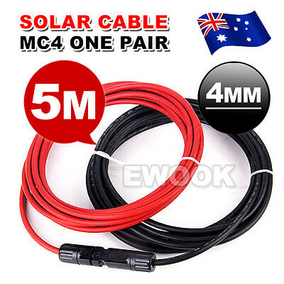 2x 5m Extension Cable Wire MC4 Connectors 4mm2 Solar Panel to regulator Cable