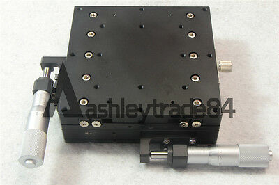 XY-Axis Stage Manual Slide Table V-rail cross-roller Trimming platform 125mm NEW
