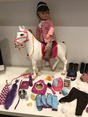 "Our Generation 18"" Doll and Camarillo Horse plus extra clothes + accessories VCG"