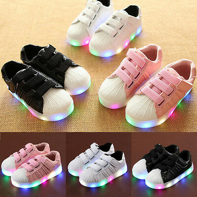 Kids Childs Boys Girls LED Sneakers Light Up Children Flat Shoes Trainers Size