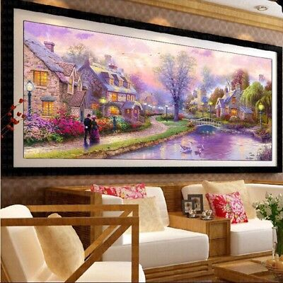 5D DIY Round Diamond Embroidery Painting Cross Stitch Kit Sweet House Home Decor
