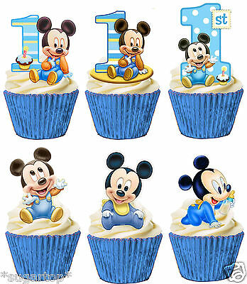 24 MICKEY MOUSE 1st Birthday Set of 6 Designs STAND UPS Edible Cup Cake Toppers