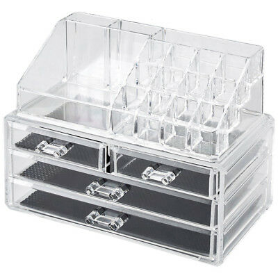 New Acrylic Crystal Clear Cosmetic Organiser Drawer Makeup Jewellery Display Box
