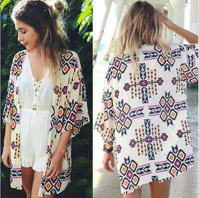 Boho Style Women Geometric Print Kimono Coat Chiffon Beach Cover Up Tops Shirt