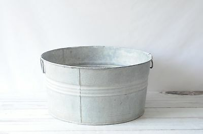 Galvanized Tub Wash Tub #2 Bucket Metal Handle Galvanized Metal #2
