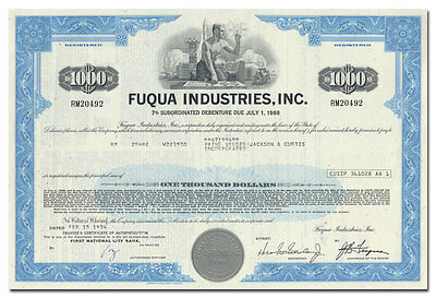 Fuqua Industries, Inc. Stock Certificate