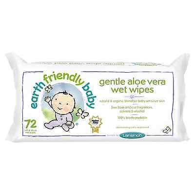 Baby wet wipes Aloe Vera-Earth Friendly Baby 5 x pack of 72 wipes (360 wipes)