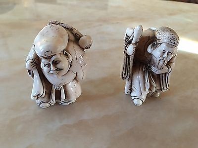 Two Antique Netsuke type Oriental Figures