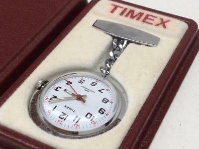 Vintage TIMEX 1970s Chrome Plated Nurses Fob Watch - In original box - Working
