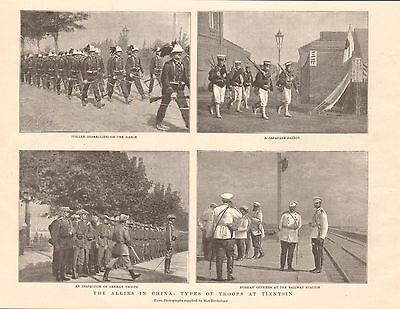 1901 Antique Print - Allies In China-Types Of Troops At Tientsin