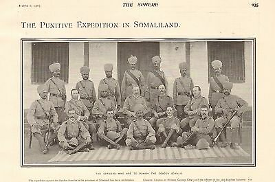 1901 Antique Print - Somaliland-Officers Who Are To Punish The Ogaden Somalis