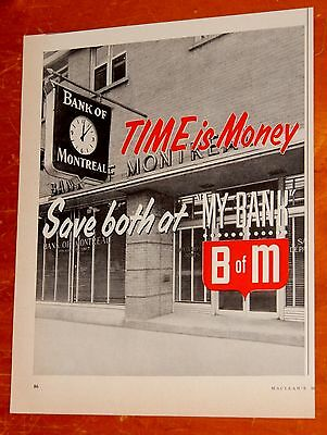Sharp 1957 Bank Of Montreal Time Is Money Canadian Ad / Vintage 50S Retro