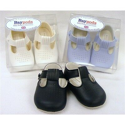 New Baby Boys Soft Sole Pram Shoes with hole detail Blue or White. Trad/ Spanish