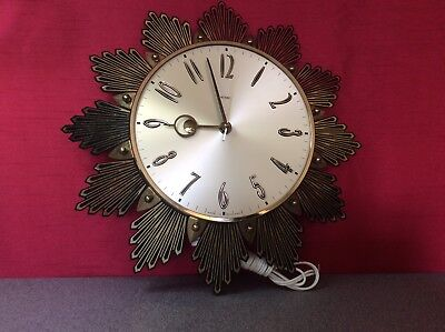 Vintage Electric Sunburst Metamec Sun ray Wall Clock