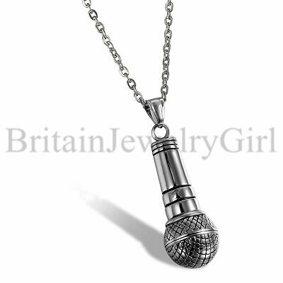 Fashion Silver Stainless Steel Singer Microphone Hip Hop Pendant Necklace Unisex