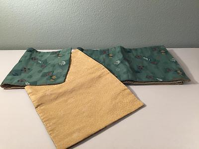 Festive Japanese Obi, Table Runner Green with multi color designs Very Nice!  >>