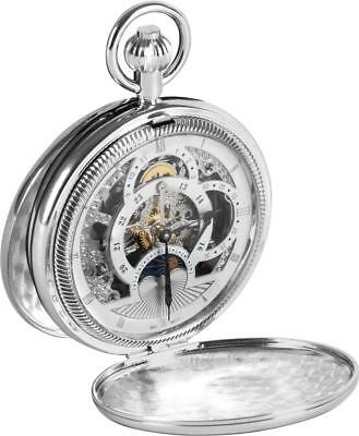 Woodford Men's Double Hunter Chrome Plated Moon Dial Pocket Watch