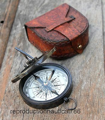 Vintage Antique Brass Navigation Sundial Compass With Leather Case Nautical Gift