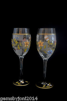 """Wine Glasse Hand Painted and Decorated Crystal  Set of 2 """"Handmade"""", Multi-Color"""