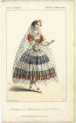 [THEATRE] (Opera): Hand-coloured Destouches lithograph of Mlle. Périgat in role