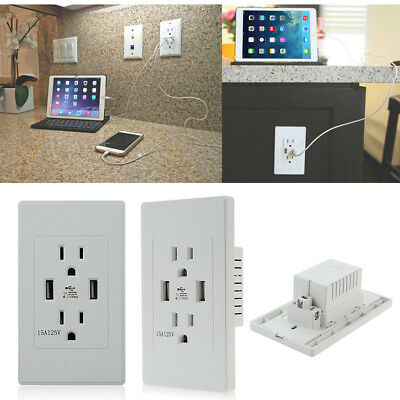 Electrical Outlet Panel Dual USB wall charger port Socket Power Adapter plug W23