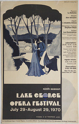LAKE GEORGE OPERA FESTIVAL July 29-August 29, 1970: Large hand-coloured poster