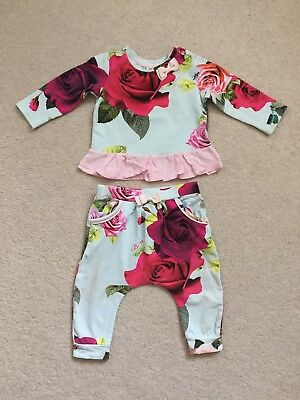 Baker by Ted Baker Designer Baby Girl Blue Rose🌹Top and Pants Set, 6-9 Months
