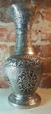Beautiful Estate Silver Plated Vase Hand Chased Reticulated Urn with Flared Rim