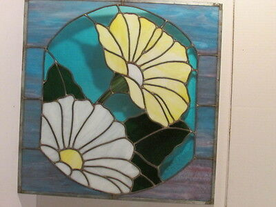 Handcrafted Stain Glass Panel W/multi Colored Daffodils 20 1/2 X 20 1/2