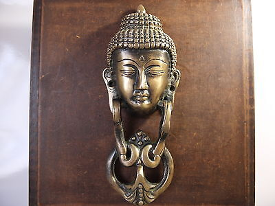 Vintage Antique Style Hand Made Solid Brass Budha Shaped Door Knocker