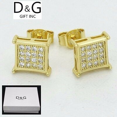 DG Mens Gold Sterling Silver 925.CZ Iced-Out 8mm Square*Studs Earring Unisex.Box