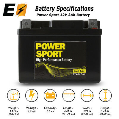 Replacement YTX4L-BS 12V 3Ah Battery for Motorcycle Scooter ATV