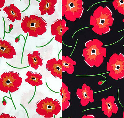 Poppy Flower Fabric Cotton Craft Fabric By The Metre Red Poppy