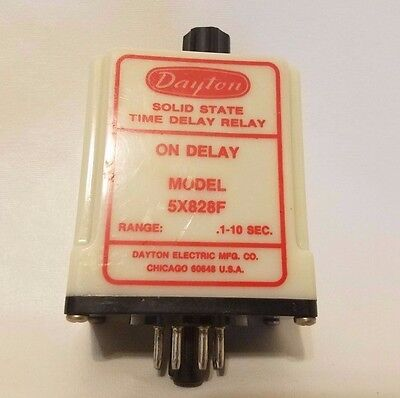 Dayton Model 5X828F Solid State Time Delay Timing Relay On Delay .1-10 SEC
