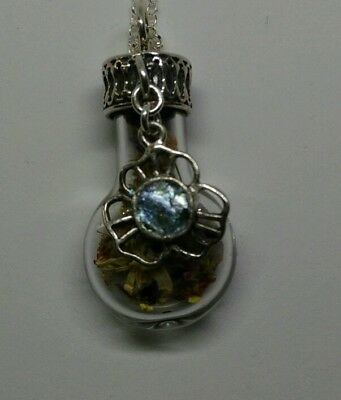 Glass bottle with real flowers and Roman glass accent stone pendant necklace