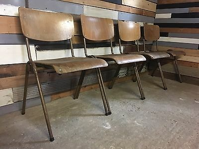 29 Vintage industrial Stacking School Cafe Restaurant Bar bistro dining Chairs