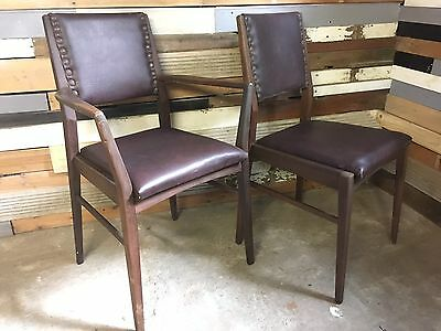 A Pair of Retro vintage teak mid-century dining office chairs