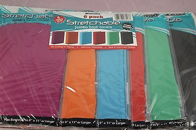 Stretchable Fabric Jumbo Size Book Cover Assorted Solid Colors package of 6