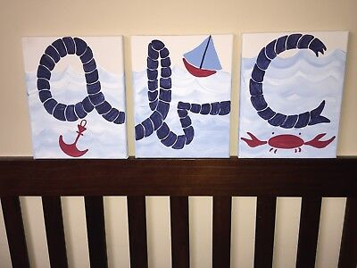 3 Wall Art Canvas Paintings A B C Nautical Baby Boy NURSERY DECOR Pottery Barn
