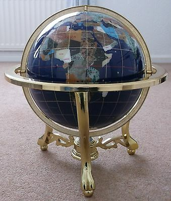 Blue Lapis Gemstone Very Large Globe World & Compass Brass Stand 19 Inches