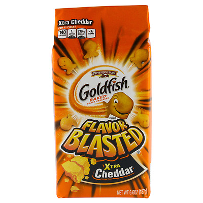 New Sealed Goldfish Baked Snack Crackers Flavor Blasted Xtra Cheddar 6.6 Oz