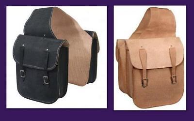 Roughout Leather SHOWMAN Western SADDLE Bag Natural/ Black Popular Cheap!