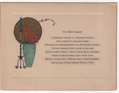 Victorian Greeting Card, To Mother, A Candle and Flowers
