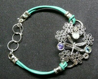 Sterling silver Dragonfly bracelet with ancient Roman glass-Handmade in Israel