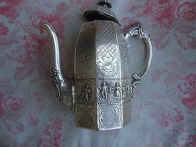 """5""""Marked Old Chinese Silver plated carving   Tea Pot"""