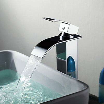 New Modern Bathroom Waterfall Sink Faucet One Hole/Handle Mixer Tap Chrome+Hose