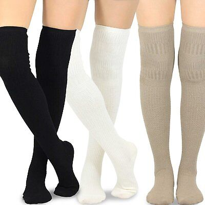 Teehee Women's Cotton Over The Knee Socks 3 Pairs (Knit Cable)