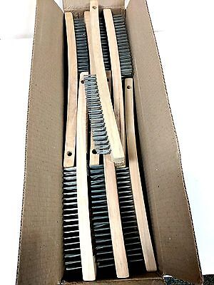 12 New 13 in. natural hardwood handle carbon steel Wire Brushes - Free Ship